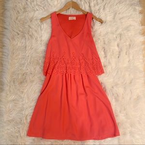 Coral Pleated Everly Dress with Eyelets